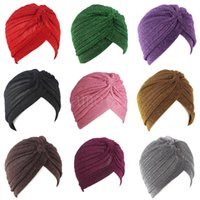 Bling Silver Gold Women Knot Twist Turban Autumn Winter Warm Muslim Scarf Casual Streetwear Female Indian Hats DD597