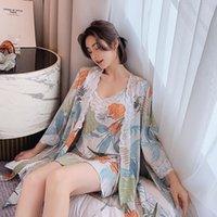 إمرأة البشكير النوم الساتان مجموعات النوم المطبوعة الأزهار خمر قمصان الروبان زائد حجم صالة مجموعة الرباط نوم المرأة