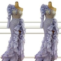 2021 Fashion Prom Dresses Sexy Mermaid Ruffle Tiered Split Beading Tulle Dubai Evening Gowns Beaded Long Formal Dress