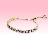 Nuova Blue Stripe Braccialetti placcati in oro Le donne Gioielli da sposa per Pandora 925 Bracciale in argento sterling con scatola originale di alta qualità