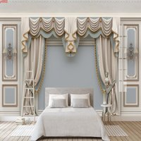 Custom Wallpaper Papel De Parede 3D European Style Curtain Carved Bedroom Living Room TV Background Photo Mural Wall Painting