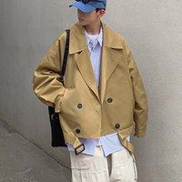 Men's Jackets 2021 Fashion Jacket Vintage Cotton Suit Collar Short Coat Male Korean Style Clothes Black Khaki Oversize Streetwear