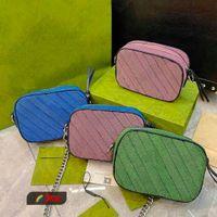 2021Ss Multicolour Multicolour Saco De Ombro Pequeno Na Corrente Azul Verde Cor-de-rosa Cruz Cruz Itália Stripe Couro Designer Womens Sacos de Compras Flap Bolsa Carteira
