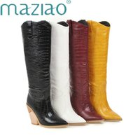 Black Yellow White Knee High Boots Western Cowboy for Women Long Winter Pointed Toe Cowgirl wedges Motorcycle 210914
