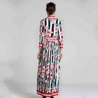 платье Seqinyy элегантная осень 2021 зимняя мода дизайн рукава розовая роза длинные цветы напечатанные полосы ed pleissate