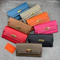 5a المحافظ المرأة محافظ سستة حقيبة الإناث المحفظة محفظة أزياء بطاقة حامل جيب طويل النساء حمل الحقائب مع مربع الغبار مربع