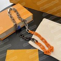 21SS L Дизайнерские цепи 3-цветное сращивание Бамбуковое ожерелье Оранжевый браслет Trass Tide Gold Whit Box Link 2