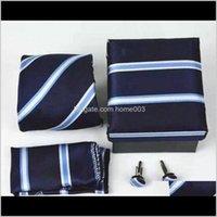 Aesorías de moda Drop Entrega 2021 Classic Men Tie PAISLEY Lazos de seda Pocket Square Square Caja de regalo Cuello Cuello Diseñador Cuello Para Hombre Masculino Gravat