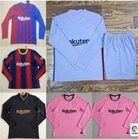 Manga longa 2021 2022 Barcelona Futebol Jerseys Away 21 22 Messi Ansu Fati Camiseta Futbol Griezmann De Jong Set Football Shirt