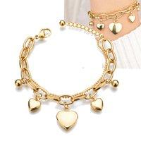 18k gold plated women layered stainless steel heart charm bracelet factory custom design