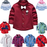 Shirts 17 Patterns Spring Autumn Fashion Boutique Children Kids Toddler Boys Cotton Clothes Clothing Long Sleeve Blouse Shirt Tops