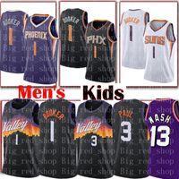 # Devin 1 booker Chris 3 Paul Jersey Steve 13 Nash Retro Mesh Basketball Jerseys S-XXL Noir Violet Blanc Hommes Enfants