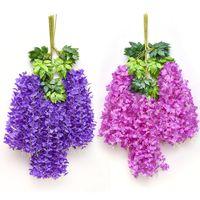 Teto plástico rattan simulação glicínia feijão corda casamento decoração verde folha parede pendurado flor falsa