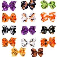 Baby Halloween Barrettes Grosgrain Ribbon Bows with Clip Girls Kids Ghost Pumpkin barrette Girl Pinwheel Hair Clips Hair Pin Accessories