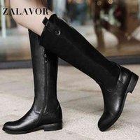 ZALAVOR Women Fashion Knee High Boots Winter Keep Warm Short Plush Side Zipper Footwear Size 34 43 Shoes For Sale Cheap Cowgirl Bo_bar