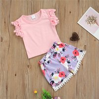 Clothing Sets Baby Girls Clothes Set, Solid Color Sleeveless T-shirt + Floral Print Short Pants With Tassels Little Summer Casual Set