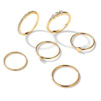 Vintage Gold Ring Sets 6pcs set Bohemian Crystal Stone CZ Zircon Geometric Mix Size Knuckle Finger Rings Jewelry for Women Anillo