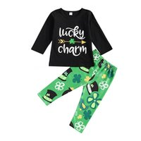 Clothing Sets Toddlers St. Patrick's Day Outfit, Little Girls Boys Round Collar Long Sleeve Letter Top + Leaf Printing Trousers Kit 1-6T
