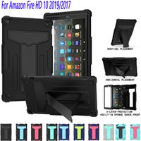 Hard Rugged Kickstand Hybrid Shockproof Armor Stand Case Heavy Duty Tough Tablet Cover For Amazon Fire HD 10 8 plus