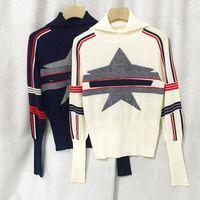 908 2021 Миланское платье взлетно-посадочная полоса kint черепаха шеи пуловер полосатый бренд такой же стиль с длинным рукавом белый синий свитер женщины одежда высокое качество xue