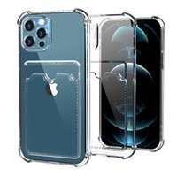 Funda protectora suave de TPU con soporte de ranura para tarjetas Funda de banda de parachoque para iPhone 13 12 11 Pro Max Mini Samsung S20 A72 Huawei P30