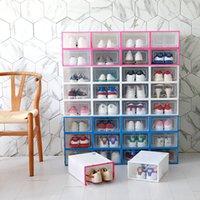 Caja de zapatos transparente multicolor plegable plástico plástico casero organizador apilable exhibición superpuesta combinación zapatos contenedores cajas de gabinete JY0530