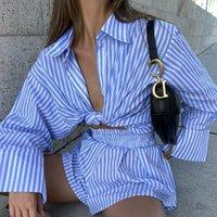 Women's Tracksuits Autumn Women Striped Short Sets Long Sleeve Turn-down Collar Cardigan Shirt Tops Elastic Waist Straight Shorts 2pc Set