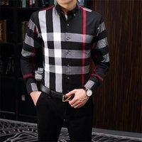 Erkek Elbise Giyim Tasarımcısı Rahat Slim Fit Uzun Kollu Iş Gömlek Erkek Nokta Baskı Sonbahar Örgün Pamuk Gömlek Erkekler Marka # 005