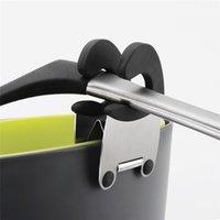스테인레스 스틸 냄비 클립 주방 도구 내열성 스푼 클램프 주걱 홀더 스토리지 랙 망치 무료 가제트 LLE6690