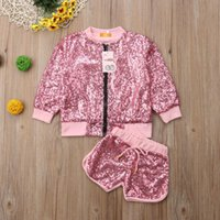 Clothing Sets 1-6 Years Spring And Autume Kids Baby Girls Set Bling Sequins Pink Jacket+Short Outfits Toddler Clothes