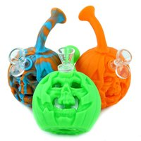 """Skull Pumpkin water pipe 6"""" Smoking Dab Rig Halloween Silicone bong with glass bowl & LED light portable"""