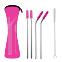 DHL 6Pcs set Reusable Stainless Steel Straight Bent Drinking Straws with Silicone Tips for Hot Cold Beverage Drink Bar Tools CO17