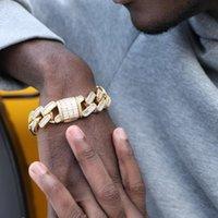 الرابط، سلسلة الهيب هوب 19 ملليمتر مربع مشبك المشبك الرغيف الفرنسي الشق مكعب رابط زركونيا كوبية سوار الرجال الذهب الأبيض مطلي مجوهرات