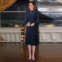 Günlük Elbiseler XF Prenses Kate Middleton Aynı Paragraf 2021 İlkbahar Ve Sonbahar Gösterir Vintage Koyu Mavi Uzun Kollu Ince Parti Midi Elbise
