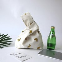 Coin Purses YILE Cotton Linen Lining Wrist Bag Wrap Knot Handbag Key Phone Pouch Yellow Banana 17320-3