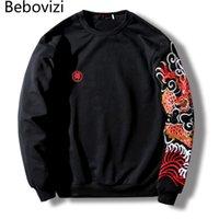BEBOVIZI Mens Streetwear Chinesische Drachenstickerei Hip Hop Pullover Lässig Japanischer Stil Mit Kapuze Hoodie Schwarz