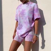 Rahat Kravat Boya İki Parçalı Set Kadın Eşofman Moda Yaz Üst Ve Biker Şort Eşleştirme Setleri Kıyafetler Spor Giyim 210521