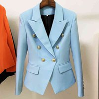 Women's Wool & Blends Classic female jacket with buttons, high street, , slim fit, double breasted style, lion blazer, blue NDIP