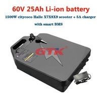 GTK waterproof 60V 25Ah Lithium ion battery pack 18650 BMS detachable for 1500W citycoco Halle X7X8X9 scooter + 2A charger