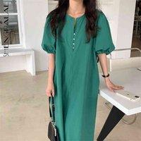 Verde vestito da donna estate girocollo girocollo grande taglia singolo petto a manica corta a manica corta abiti da metà vitello femmina 210427