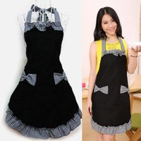 Waterproof Cooking Apron Printing Princess Dress Thicken Vintage Kitchen Womens Bowknot With Pocket Gift Aprons