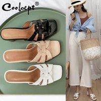 Coolcept mulheres sandálias de salto alto sapatos de couro real marca chinelos de verão moda mulher calçado tamanho 33-43 vestido
