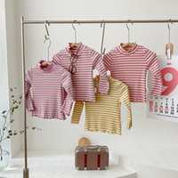 Girls Rib T-Shirts Ruffle Edge Stripe Spring Fall Kids Bouitique Clothing 1-5T Children Cotton Long Sleeves Rainbow Tee Tops Special Offer