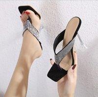 # 54989 Yaz Kadın Sandalet Kare Başkanı Kristal Strass Rhinestone Flip Flop Terlik Kadın Ayak Seksi Sandal ve Terlik Kadın Mizaç Lady
