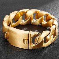 Männer Goldfarbe Edelstahl Armband Hohe Qualität Luxus Mann Schmuck Hip Hop Wolfram Armbänder Freund Geschenk für männliche Verbindung, Kette