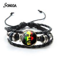 Reggae Müzik Tarzı Bob Marley Şarkıcı Bilezik Bayrak Desen Punk Şarkıcı Sanat Baskılı Cam Düğme Deri Örgülü Bilezikler