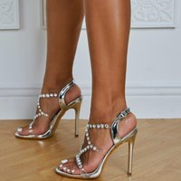 Sandals Ladies Wedding Party Shoes Fashion PVC Transparent Crystal Rhinestone Slippers Ankle Buckle Stilettos
