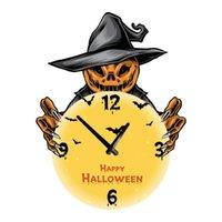 Wall Clocks Nordic Halloween Decorative Clock Pumpkin Wooden Modern Design Home Decor 35*25cm Silent Quartz Round Wood