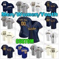 Männer Jugend Frauen Milwaukee Custom Brewers Christian Yelich Jersey Lorenzo Cain 21 Travis Shaw 20 Daniel Vogelbach 35 Brent Suter Robin Yount