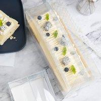 شفافة لفة لفة مربع التعبئة والتغليف مع مقبض صديقة للبيئة واضح البلاستيك كعكة الكعكة مربع الخبز السويسري ROLL1 1277 V2